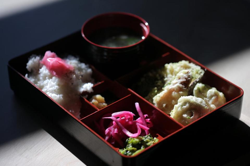Teishoku (bento box with rice, pickles, today's vegetable, miso soup).